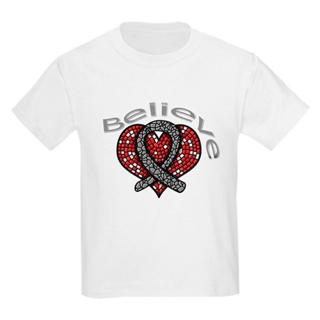 Brain Cancer BelieveHeart Kids Light T-Shirt
