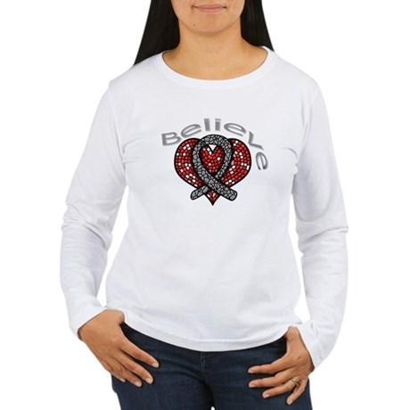 Brain Cancer BelieveHeart Women's Long Sleeve T-Sh