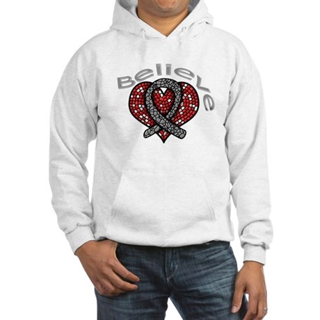 Brain Cancer BelieveHeart Hooded Sweatshirt