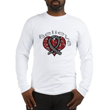 Brain Cancer BelieveHeart Long Sleeve T-Shirt