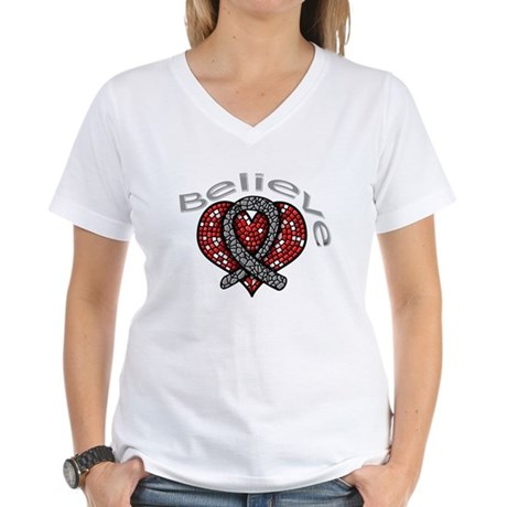 Brain Cancer BelieveHeart Women's V-Neck T-Shirt