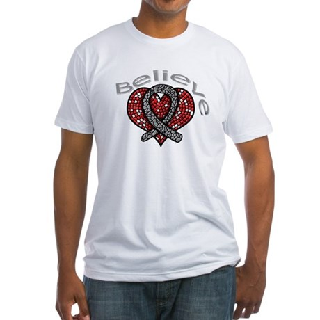 Brain Cancer BelieveHeart Fitted T-Shirt