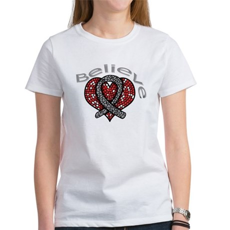Brain Cancer BelieveHeart Women's T-Shirt