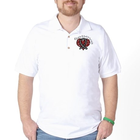Brain Cancer BelieveHeart Golf Shirt