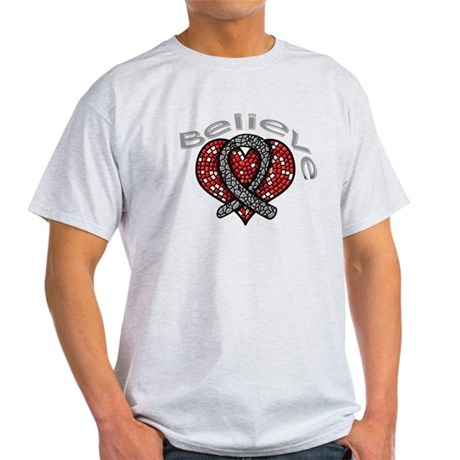 Brain Cancer BelieveHeart Light T-Shirt