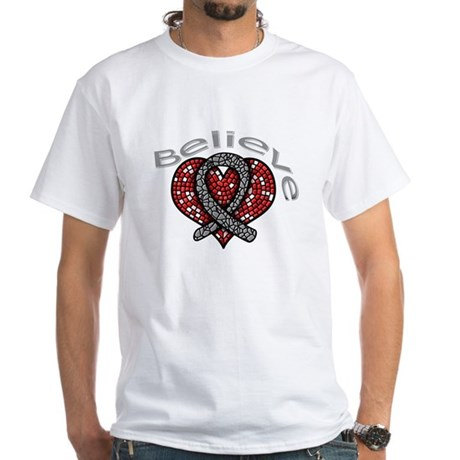 Brain Cancer BelieveHeart White T-Shirt