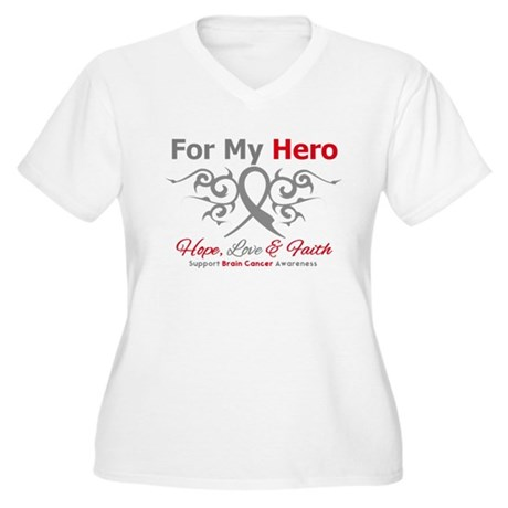 Brain Cancer ForMyHero Women's Plus Size V-Neck T-