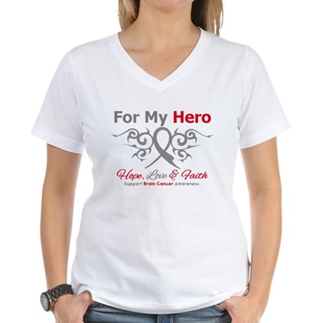 Brain Cancer ForMyHero Women's V-Neck T-Shirt
