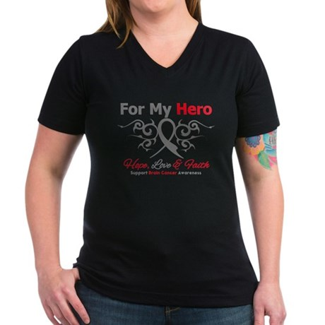 Brain Cancer ForMyHero Women's V-Neck Dark T-Shirt