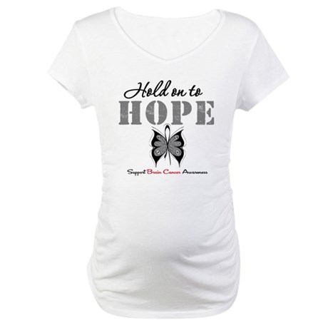 Brain Cancer HoldOnToHope Maternity T-Shirt
