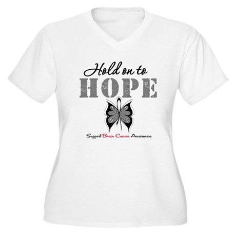 Brain Cancer HoldOnToHope Women's Plus Size V-Neck
