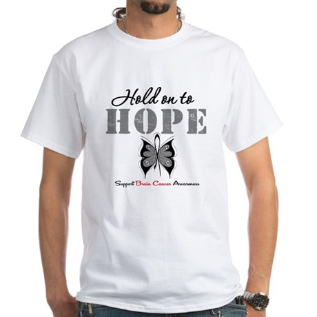 Brain Cancer HoldOnToHope White T-Shirt