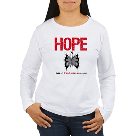 Brain Cancer HopeSlogan Women's Long Sleeve T-Shir
