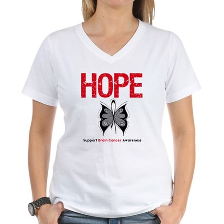 Brain Cancer HopeSlogan Women's V-Neck T-Shirt