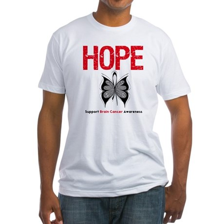 Brain Cancer HopeSlogan Fitted T-Shirt