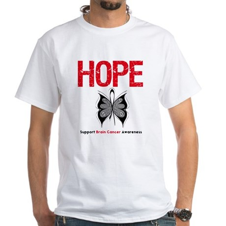 Brain Cancer HopeSlogan White T-Shirt