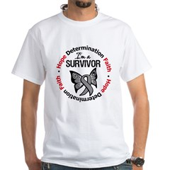 Brain Cancer SurvivorButterfl White T-Shirt