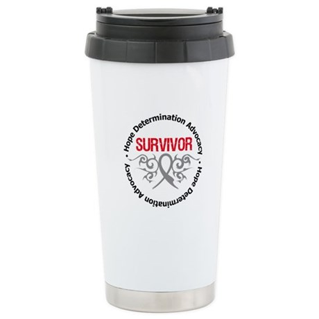 Brain Cancer SurviorTribal Ceramic Travel Mug