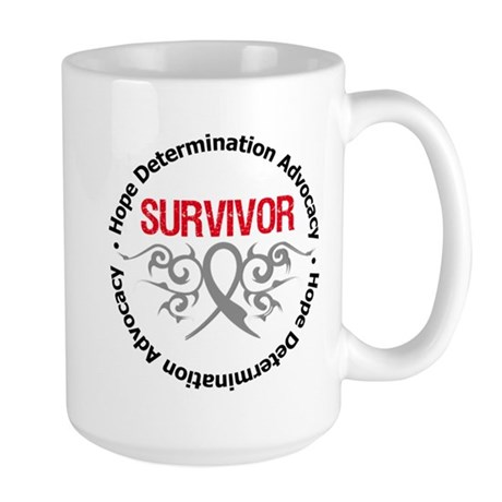 Brain Cancer SurviorTribal Large Mug