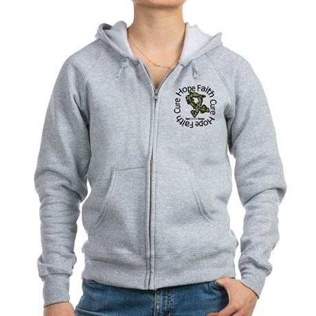 Brain Cancer Hope Flower Women's Zip Hoodie