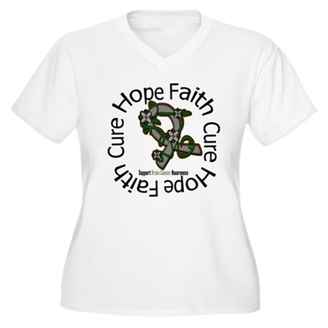 Brain Cancer Hope Flower Women's Plus Size V-Neck