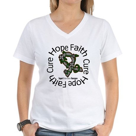 Brain Cancer Hope Flower Women's V-Neck T-Shirt