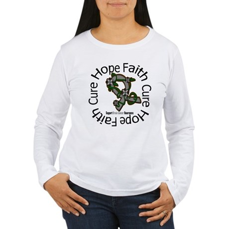 Brain Cancer Hope Flower Women's Long Sleeve T-Shi