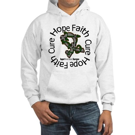 Brain Cancer Hope Flower Hooded Sweatshirt