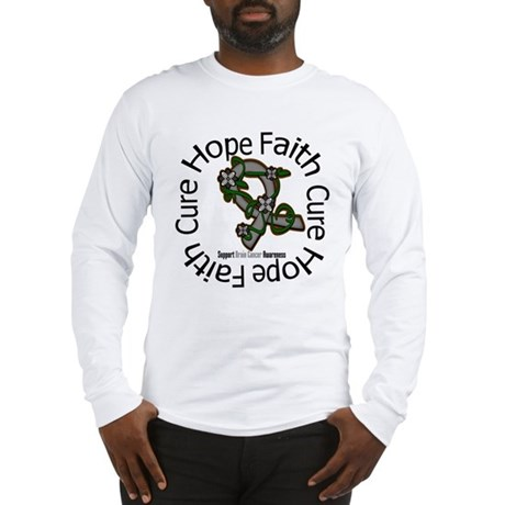 Brain Cancer Hope Flower Long Sleeve T-Shirt