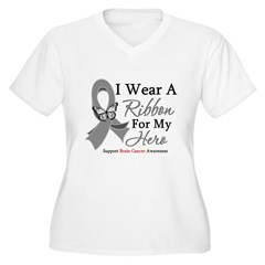 Brain Cancer IWearRibbon Hero Women's Plus Size V-