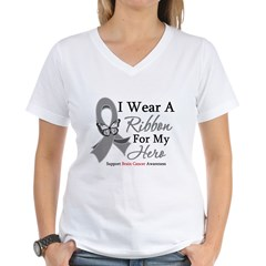 Brain Cancer IWearRibbon Hero Women's V-Neck T-Shi