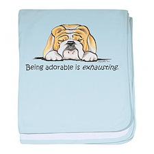 Adorable Bulldog baby blanket