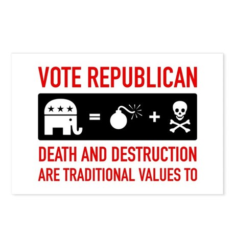 Republican = Death + Destruction Postcards (Packag