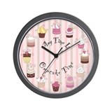 Pink and Brown Cupcake Wall Clock