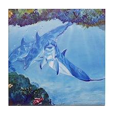 Dolphin Art Tile Coaster