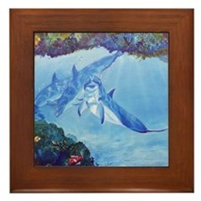 Dolphin Art Framed Tile