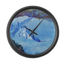 Dolphin Art Large Wall Clock