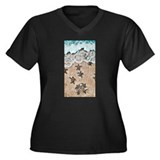 Turtle Hatchlings Women's Plus Size V-Neck Dark T-