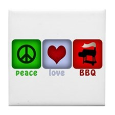 Peace Love and BBQ Tile Coaster