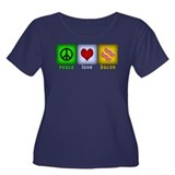 Peace Love and Bacon Women's Plus Size Scoop Neck