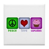 Peace Love and Cupcakes Tile Coaster