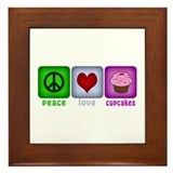 Peace Love and Cupcakes Framed Tile