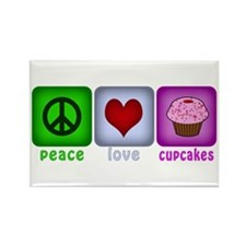 Peace Love and Cupcakes Rectangle Magnet (100 pack