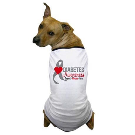 Diabetes Heart Ribbon Dog T-Shirt
