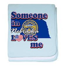 Someone in nebraska loves me baby blanket
