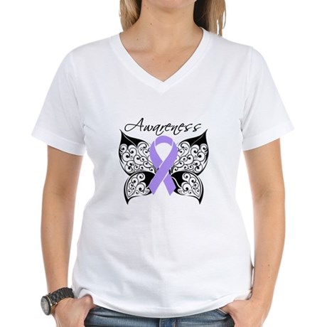 Butterfly Cancer Awareness Women's V-Neck T-Shirt
