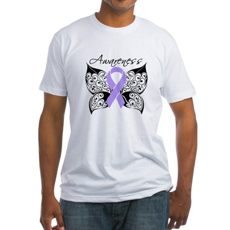 Butterfly Cancer Awareness Fitted T-Shirt