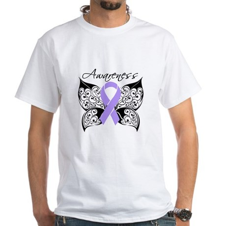 Butterfly Cancer Awareness White T-Shirt