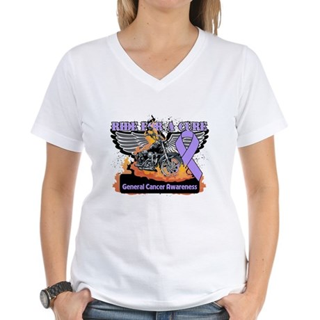 Cancer - Ride For a Cure Women's V-Neck T-Shirt