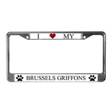 White I Love My Brussels Griffons Frame